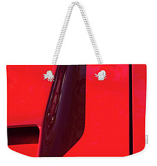 Weekender Tote Bag featuring the photograph Red Black And Shapes On Hot Rod Hood by Gary Slawsky