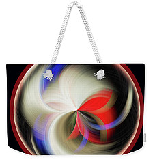 Weekender Tote Bag featuring the photograph Red Black Orb by Judy Wolinsky