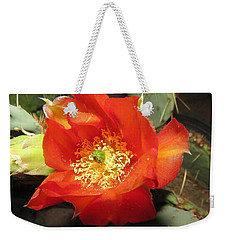 Red Bloom 1 - Prickly Pear Cactus Weekender Tote Bag