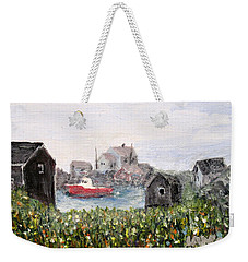 Weekender Tote Bag featuring the painting Red Boat In Peggys Cove Nova Scotia  by Ian  MacDonald