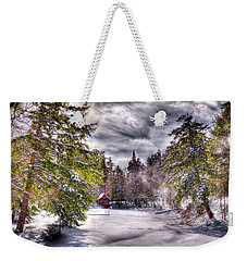 Weekender Tote Bag featuring the photograph Red Boathouse After The Storm by David Patterson