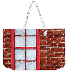 Weekender Tote Bag featuring the photograph Red Brick And Window by James Eddy
