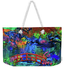 Weekender Tote Bag featuring the painting Red Bridge Dreamscape by Jeanette French