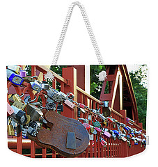 Weekender Tote Bag featuring the photograph Red Bridge Locks by Christopher McKenzie