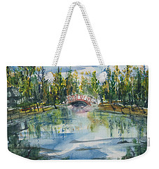 Weekender Tote Bag featuring the painting Red Bridge On Lake In The Ozarks by Reed Novotny