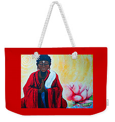 Red Buddha Lotus Weekender Tote Bag by Jackie Carpenter