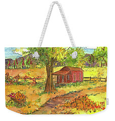 Weekender Tote Bag featuring the painting Red Cabin In Autumn  by Cathie Richardson