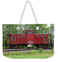 Red Caboose In The Rain Weekender Tote Bag by J R Seymour