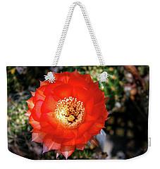 Red Cactus Bloom Weekender Tote Bag