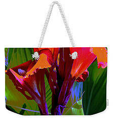 Red Canna Fire Weekender Tote Bag by M Diane Bonaparte