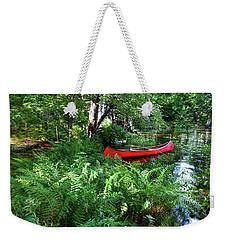 Red Canoe In The Adk Weekender Tote Bag
