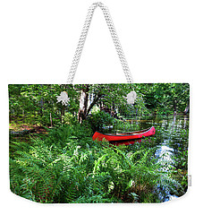 Red Canoe In The Adk Weekender Tote Bag by David Patterson