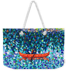 Weekender Tote Bag featuring the painting Red Canoe On The Lake by Cristina Stefan