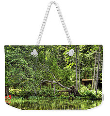 Weekender Tote Bag featuring the photograph Red Canoe Panorama by David Patterson