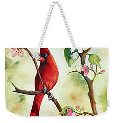 Red Cardinal And Blossoms Weekender Tote Bag