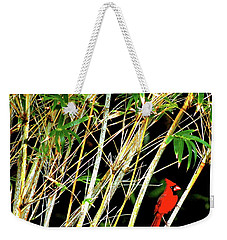 Red Cardinal In Hawaiian Bamboo Forest  Weekender Tote Bag by Lehua Pekelo-Stearns