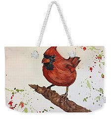 Weekender Tote Bag featuring the painting Red Cardinal by Lucia Grilletto