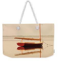 Red Catboat On Misty Harbor Weekender Tote Bag by Roupen  Baker