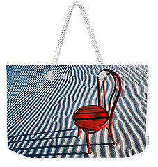 Red Chair In Sand Weekender Tote Bag