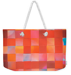 Weekender Tote Bag featuring the mixed media Red Check by Jan Bickerton