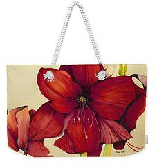 Red Christmas Amaryllis Weekender Tote Bag