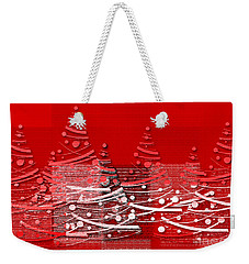 Red Christmas Trees Weekender Tote Bag by Aimelle