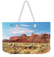Red Cliff Eagle Weekender Tote Bag by Walter Colvin