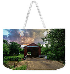 Red Covers Bridge With Pretty Sky  Weekender Tote Bag