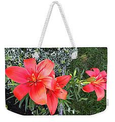 Red Day Lilies Weekender Tote Bag