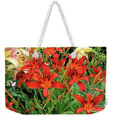 Red Daylilies Weekender Tote Bag