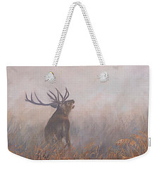 Weekender Tote Bag featuring the painting Red Deer Stag Early Morning by David Stribbling
