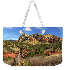 Weekender Tote Bag featuring the photograph Red Dirt And Cactus In Sedona by James Eddy
