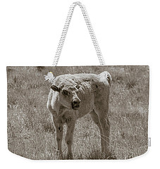 Weekender Tote Bag featuring the photograph Red Dog Buffalo Calf by Rebecca Margraf