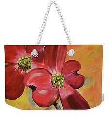 Weekender Tote Bag featuring the painting Red Dogwood - Canvas Wine Art by Jan Dappen