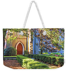 Weekender Tote Bag featuring the photograph Red Door Church by Kim Hojnacki