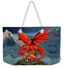 Red Dragon Guardian Of The Treasure Chest Weekender Tote Bag by Glenn Holbrook