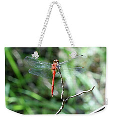 Weekender Tote Bag featuring the photograph Red Dragonfly by Karen Silvestri