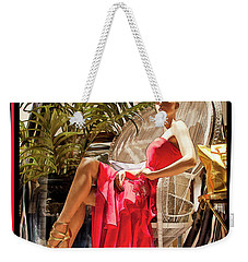 Weekender Tote Bag featuring the photograph Red Dress - Chuck Staley by Chuck Staley
