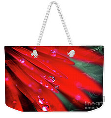 Weekender Tote Bag featuring the photograph Red Droplets by Yumi Johnson