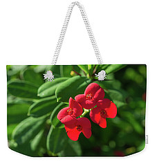 Red Euphorbia Weekender Tote Bag