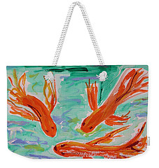 Weekender Tote Bag featuring the painting Red Eye Koi by Mary Carol Williams