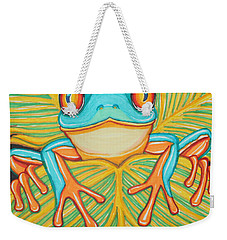 Red Eyed Tree Frog And Dragonfly Weekender Tote Bag