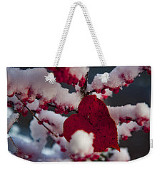 Red Fall Leaf On Snowy Red Berries Weekender Tote Bag