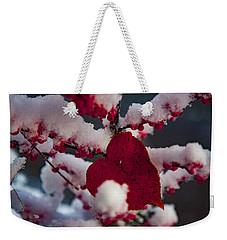Red Fall Leaf On Snowy Red Berries Weekender Tote Bag