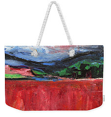 Red Field Landscape Weekender Tote Bag by Betty Pieper