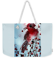 Red Finch In The Winterberry Weekender Tote Bag