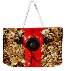 Weekender Tote Bag featuring the photograph Red Fire Hydrant by Andee Design