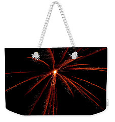 Weekender Tote Bag featuring the photograph Red Fireworks #0699 by Barbara Tristan