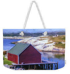 Red Fishing Shed On The Cove Weekender Tote Bag by Ken Morris