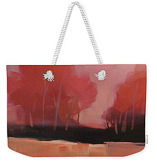 Weekender Tote Bag featuring the painting Red Flair by Michelle Abrams